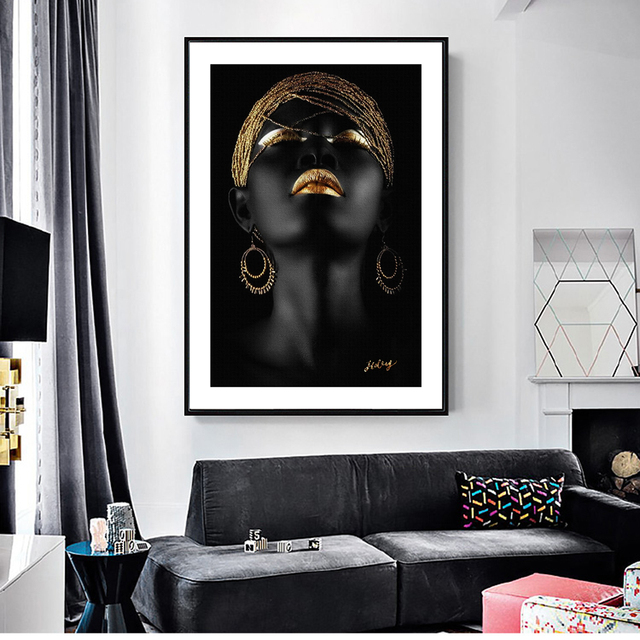 African Woman With A Gold Headscarf Wall Art Canvas Paintings Modern Black Girl Pop Art Decorative Canvas Prints For Living Room