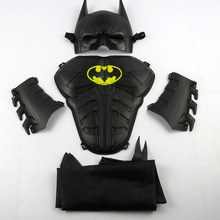 Child Cosplay Halloween Make up Toy Child shield mask ball props toy batman mask set + wristband +cloak masque Birthday gift(China)