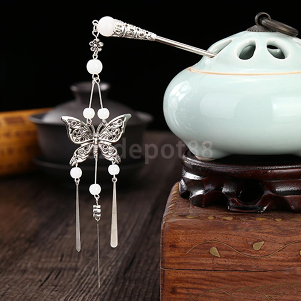 Women Vintage Chinese Traditional Butterfly Tassels Hair Stick Pin Accessory