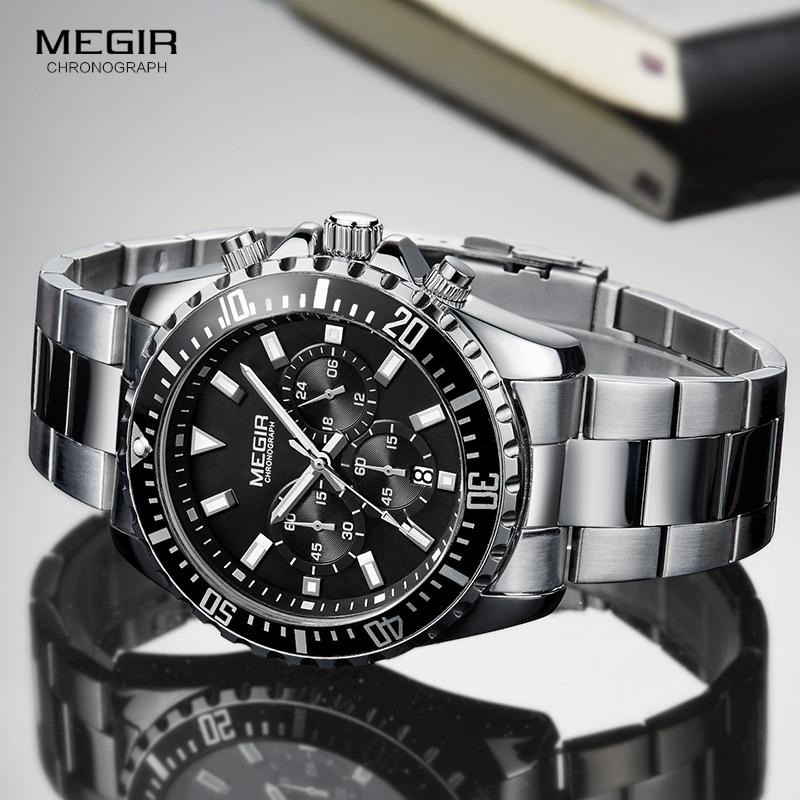 Image 3 - Megir Mans Analogue Chronograph Quartz Watch with Stainless Steel Bracelete Luminous Wristwatch for Boys Calendar 24 Hour 2064GQuartz Watches   -