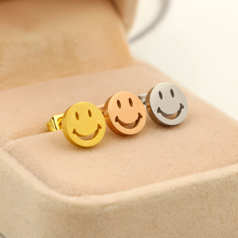 Cute smiley face expression pack Earrings For Women lady, fashion beautiful U shape round Stud Earrings stainless steel jewelry