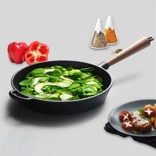 Upspirit Non-Stick Skillet Long Handle Cast Iron Frying Pan Grill Pan 22cm/24cm/26cm Pealla Pans Fried Steak Gas Cooker Use