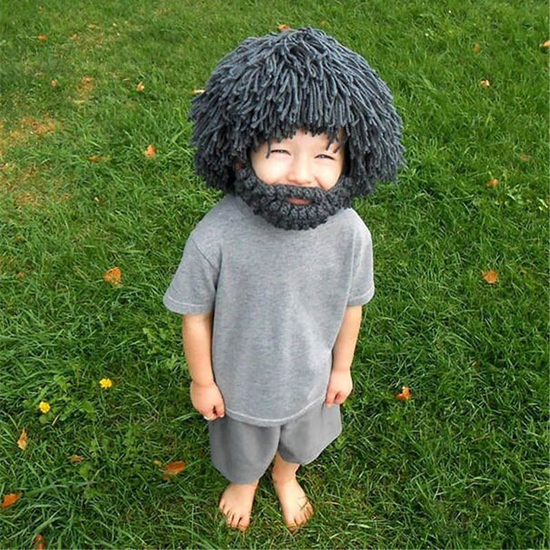 Creative Beard Hats Creative Hobo Mad Scientist Caveman Handmade Knit Warm Winter Caps Childre Kid Halloween Gifts Funny Party caveman dave
