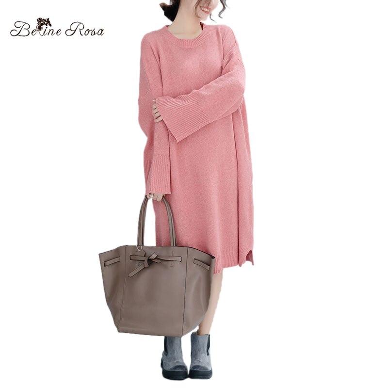 BelineRosa Knitted Dresses of Big Sizes Plus Size Women Clothing Oversized Style Pink Color Elegant Ladies Loose DressesJJDM0033