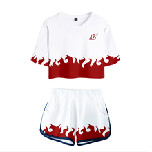 Hot Sale Casual Crop Tops 3D Naruto Shorts And T-shirt Women Clothes 2018 Harajuku Hip Hop Kpop Coat Plus Size XXXL