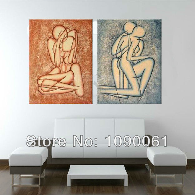 Handpainted 2 Piece Abstract Nude Lovers Oil Paintings On Canvas