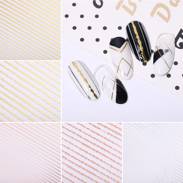 3D Nail Sticker Rose Gold Colors