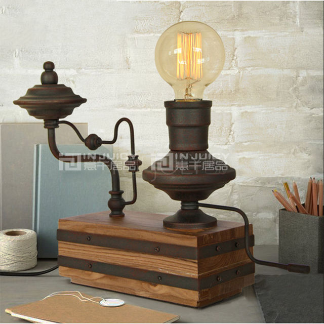 Loft Vintage Industrial Edison Wood Table Lamp Cafe Bar Generator E27 Base Led Desk Light Bedroom Living Room Stand Desk Lamp