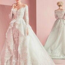 TPSAADE Elegant Off The Shoulder Long Sleeve Wedding Dress