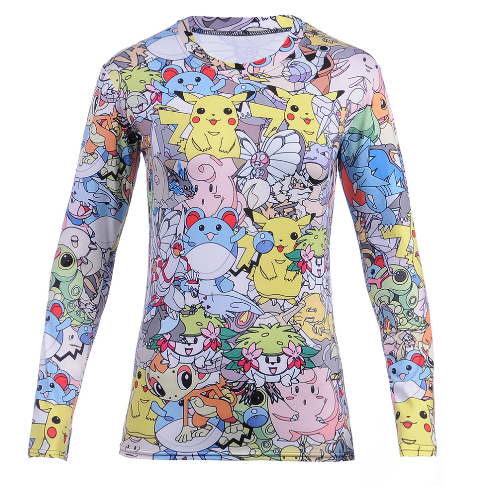 Neue Ankunft Mode Frauen Völlig Tshirt Drucken Pokemon Pikachu T-Shirt Casual Lustige Grafik Hiphop 3D Print T-shirt T-stücke