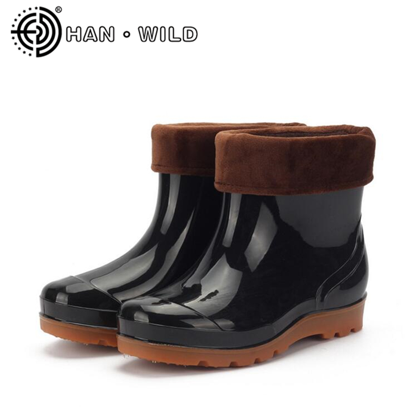 Rubber Shoes Men Rain Boots For Male Waterproof Ankle Boots Non-slip Fishiing Boots Warm Men Rain Shoes Water Shoes мебельная фурнитура waterproof pet dog shoes protective rubber rain boots booti