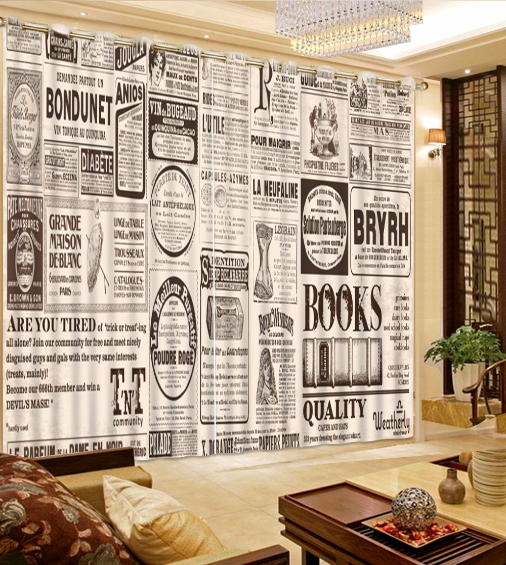 short curtains for kitchen customize 3d curtains for bedroom European text newspaper 3d blackout curtains