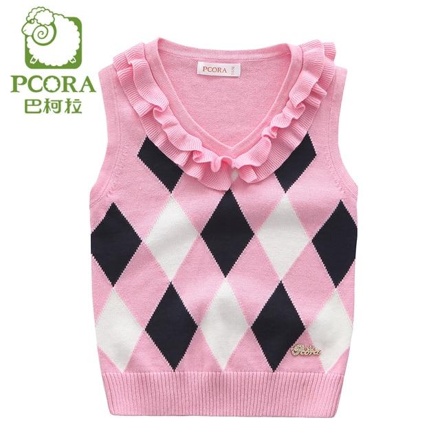 6c5414410 PCORA Knitted Vest Kids Pink Sleeveless Sweater Argyle 2017 Cotton ...