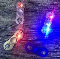 1PC LED Fingertip Gyro Finger Tip Two Leaf Runner Light Glowing Fingertips Spiral Hand Sipinner GyroGold