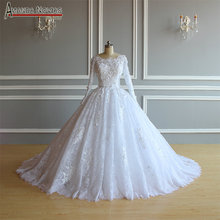 robe soiree ball gown lace wedding dress with long sleeves for muslim