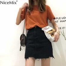 NiceMix 2019 Harajuku Asymmetry Skirts Womens High Waist Jeans Skirt Female Loose Tassel Mini Jupe Saia Femme