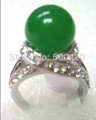 จัดส่งฟรีที่สวยงามจีนสีเขียวหยกแหวน7 8 9 #