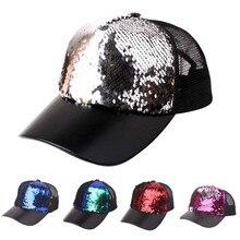 70a5797b06028 2019 NEW Hat Brand Unisex Sequins Patchwork Mesh Cap Fashion Baseball Cap  Outdoor Net Sun Hat