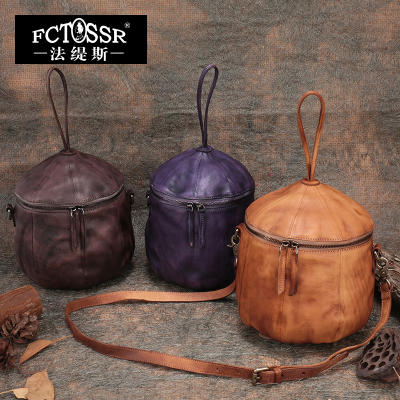 New Arrival Genuine Leather Vintage Women Handbag Fashion Handmade Bucket Style Female
