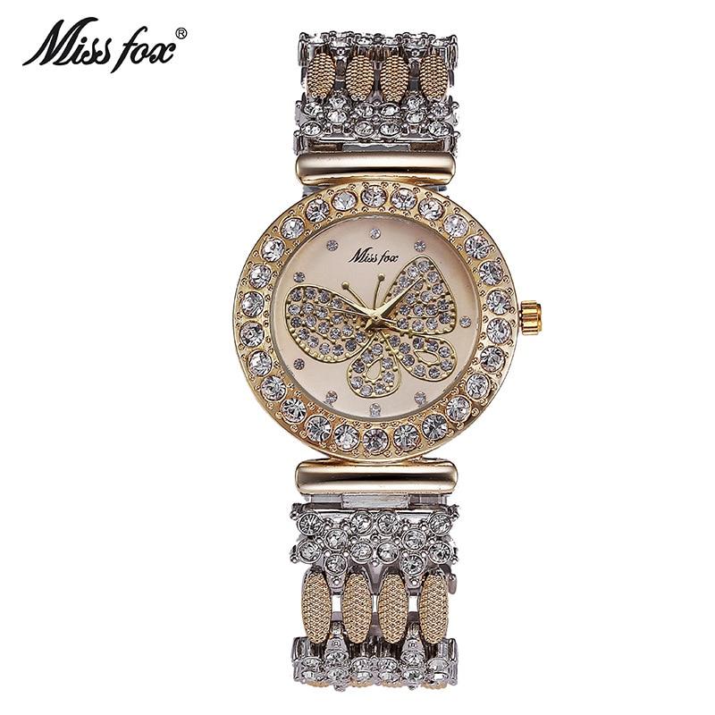Miss Fox Brand Butterfly Women Quartz Watch Luxury Waterproof Full Diamond Timepiece Ladies Steel Mesh Clock Relojes Mujer 2018