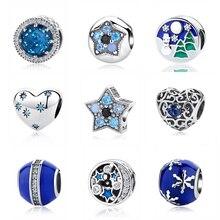 925 пробы, серебряный шарм, бусины, голубые звезды, любовь, сердце, подвеска, разделитель, Cilp, талисманы, подходят для браслетов Pandora, для женщин, сделай сам, ювелирное изделие