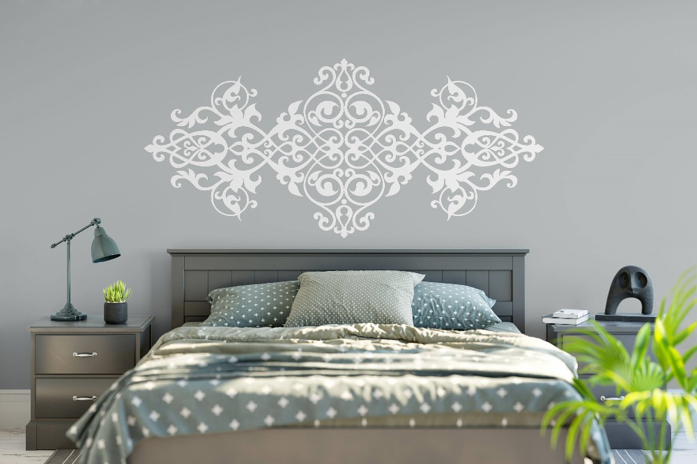 US $8.96 30% OFF|Vintage Headboard Wall Decal Baroque Style Design Mandala  Flower Vinyl Wall Stickers Master Bedroom Home Decor Wallpaper MT42-in Wall  ...
