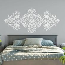Pegatina de cabecera para pared Vintage diseño de estilo barroco Mandala flor vinilo pegatinas de pared dormitorio principal decoración del hogar papel tapiz MT42