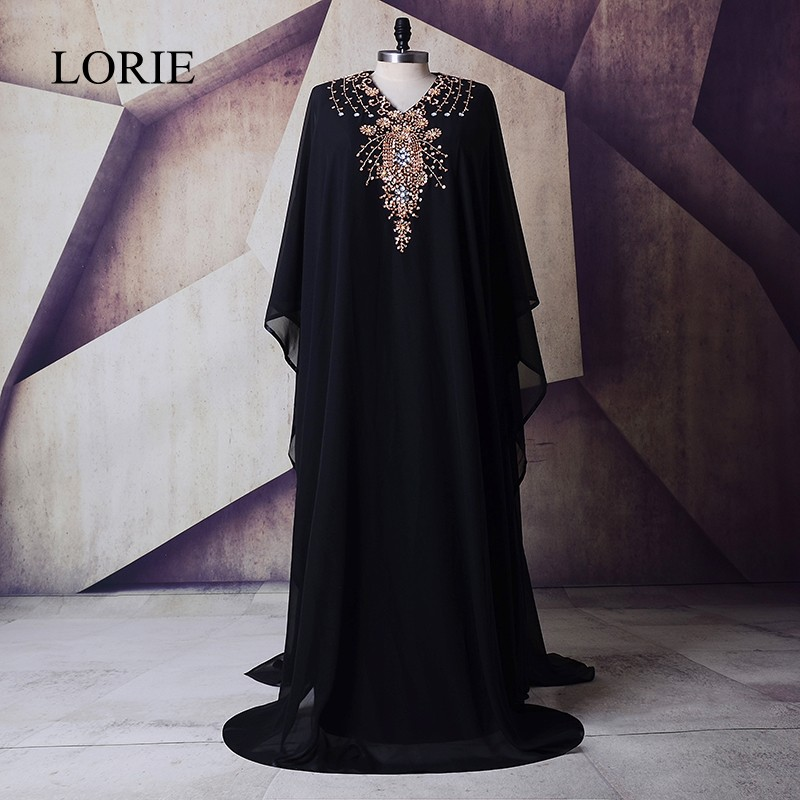 Black Plus Size Prom Dresses 2018 LORIE Gold Beading Elegant Muslim Long Sleeve Evening Gowns for