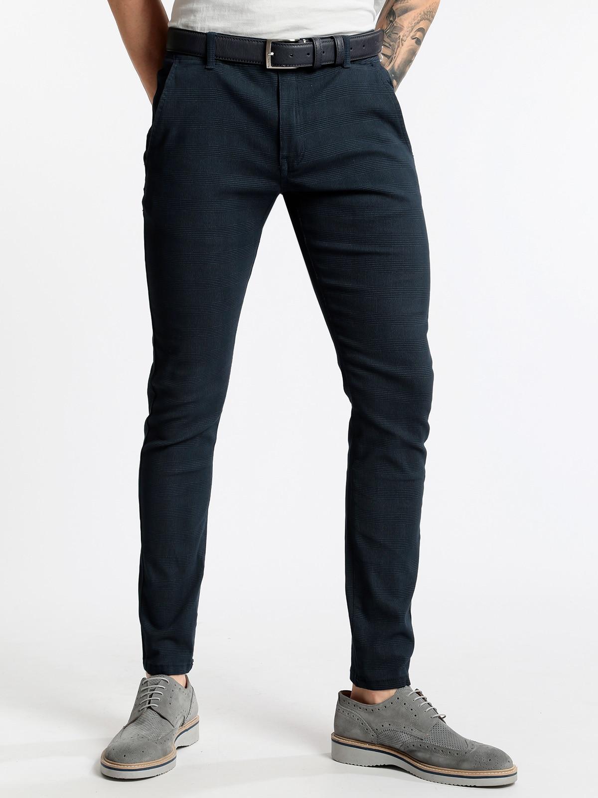 3-D SIZE Pants Chino-fancy-dark Blue
