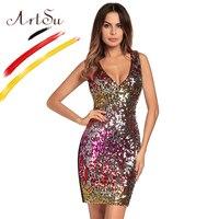 ArtSu Luxury Club Dress Women V Neck Sleeveless Bodycon Mini Dress 2018 Spring Summer Sexy Sequin