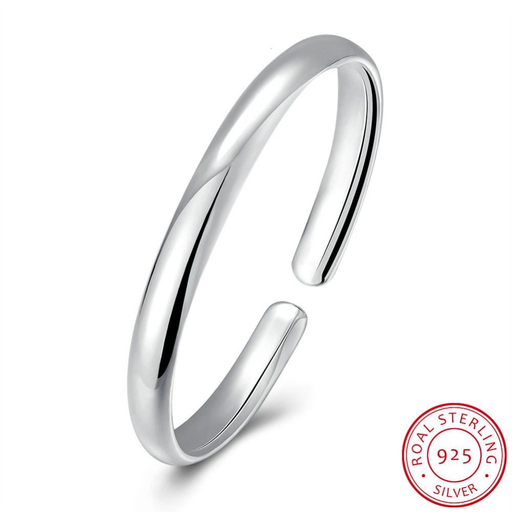 Simple Style Bangle Fashion Jewelry Wholesale Men/Women Gift Trendy 925 Sterling Silver Solid Round Bracelets Bangles Never fade simple style solid color round hairgrip for women