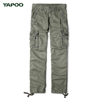 TAPOO New Arrival Mens Overalls Solid Full Cargo Pants Brand Men Pants Big Pockets Loose Male Casual Trousers All Season 29-40