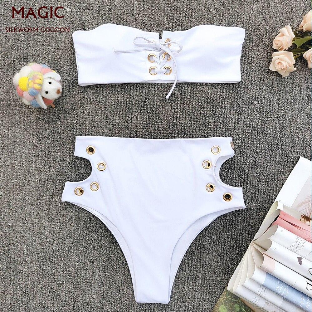 New Women's Two Piece Swimsuit Swimming Suit Sexy Bikini Female Bikini Set Sexy Bra Solid White Bathing Suit Push-up Swim Suit