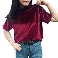 2017 de Primavera de Terciopelo de Corea Del Top de Manga Corta Mitad Mujeres Sólido Suelto Camiseta de Las Mujeres Camiseta Ocasional de la Camisa de Cuello Alto Camiseta Femme