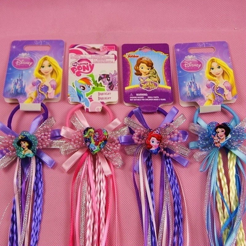 1 Pcs Elsa Anna Sophia Snowwhite Cinderella Rubber Band Hair Ring Colorful Wig Hair Rope Toys Dolls for Girl Gift Fast Delivery