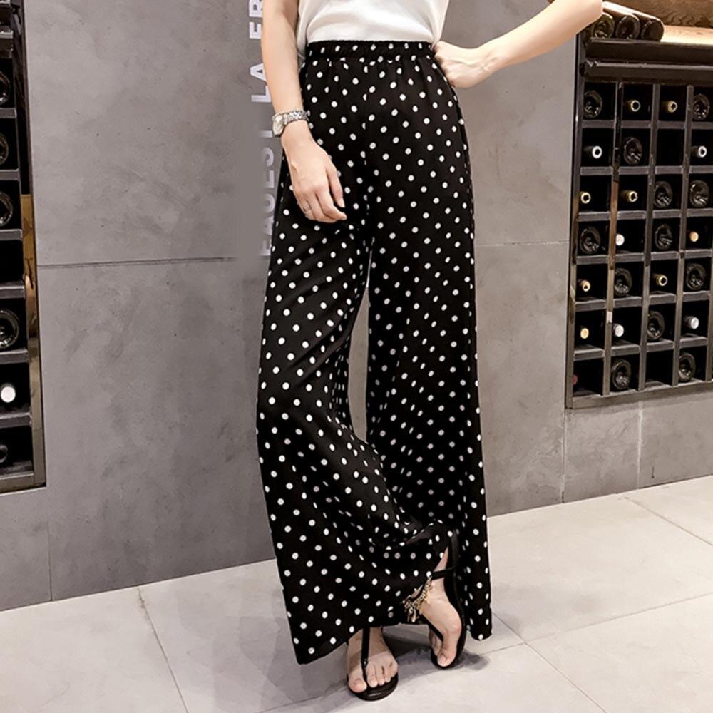Women Pants High-Waist Wide Legs Polka Dots Loose Thin Print Elastic Full Length Girls Fashion Pants Summer autumn 2018 Korean 3