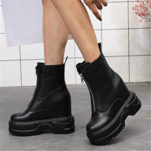 Goth Creepers Women Shoes Genuine Leather Wedges Platform High Heel Riding Boots Round Toe Long Punk Party Sneakers Casual Shoes цена