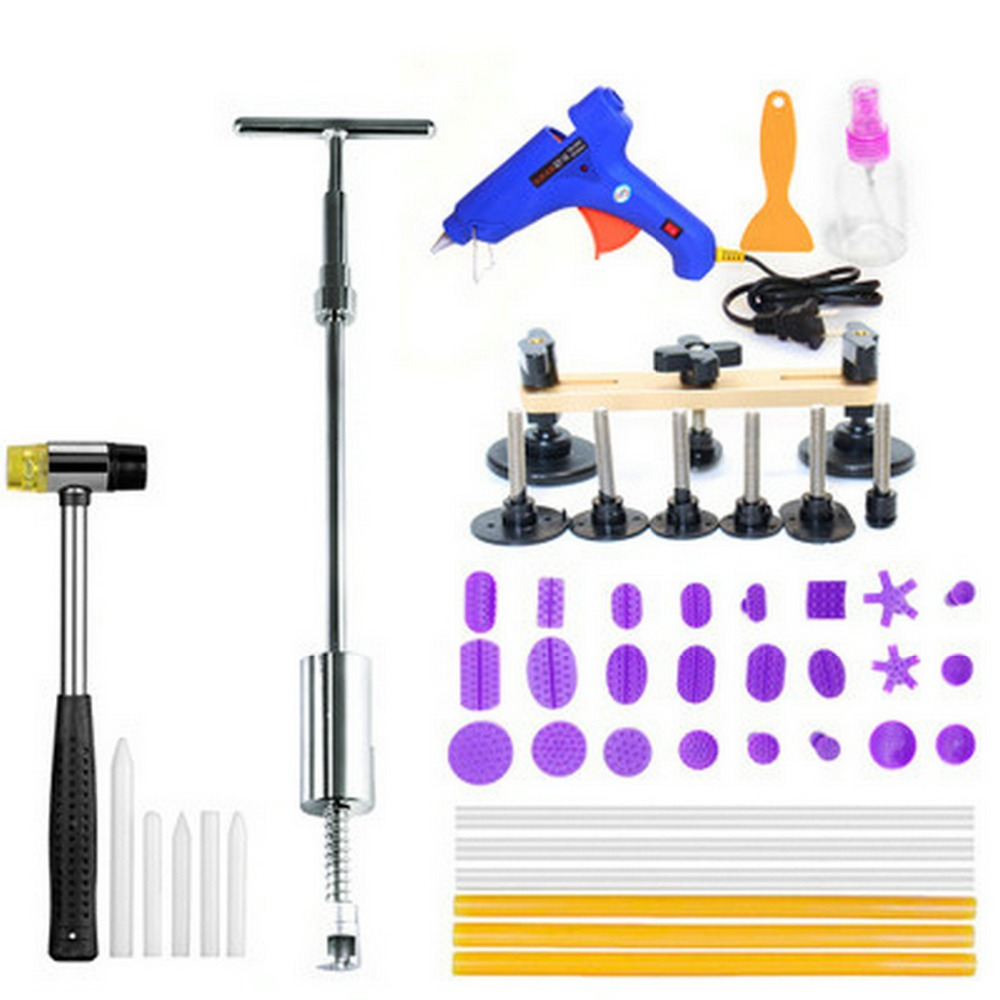 Paintless Dent Repair Tool Set Dent Puller Kit PDR Tools Dent lifter T Puller 2 in one Slide Hammer Hot Melt Glue Gun Pdr Tabs pdr rods kit with slider hammer dent lifter bridge puller set led line board glue stricks pro pulling tabs kit for pop a dent