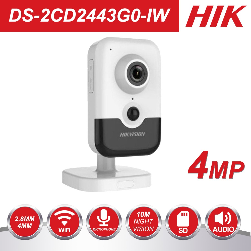 HIK Nouvelle Vidéo Surveillance Wi-Fi Caméra PoE DS-2CD2443G0-IW 4MP IR Fixe Cube caméra ip sans fil haut parleur intégré H.265 +