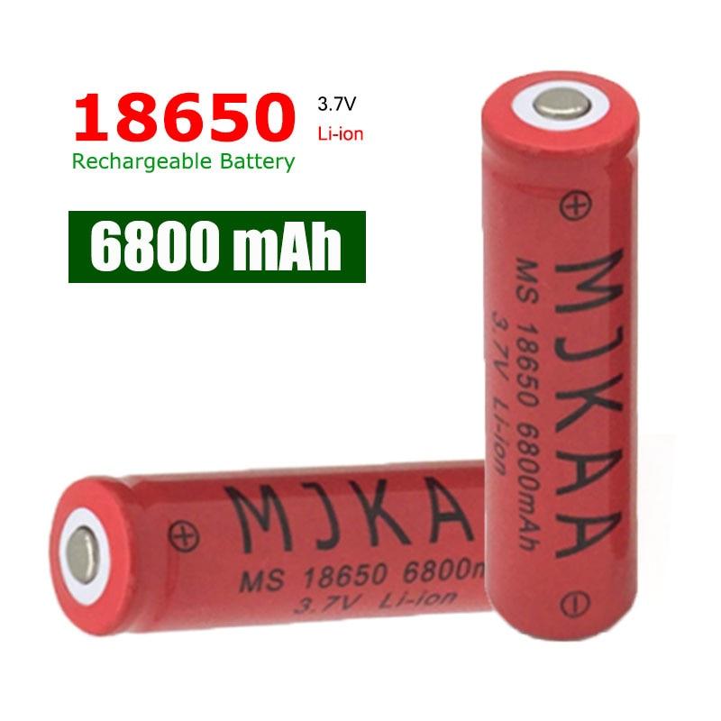 18pcs 6800mah 18650 Rechargeable Battery 3 7v Li ion Batteries Litio Used for Flashlight Headlight Riding Torch in Rechargeable Batteries from Consumer Electronics