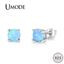 UMODE 2019 New Fashion 925 Silver Blue Opal Stud Earrings for Women White Gold Studs Round Stone Jewelry ALE0482