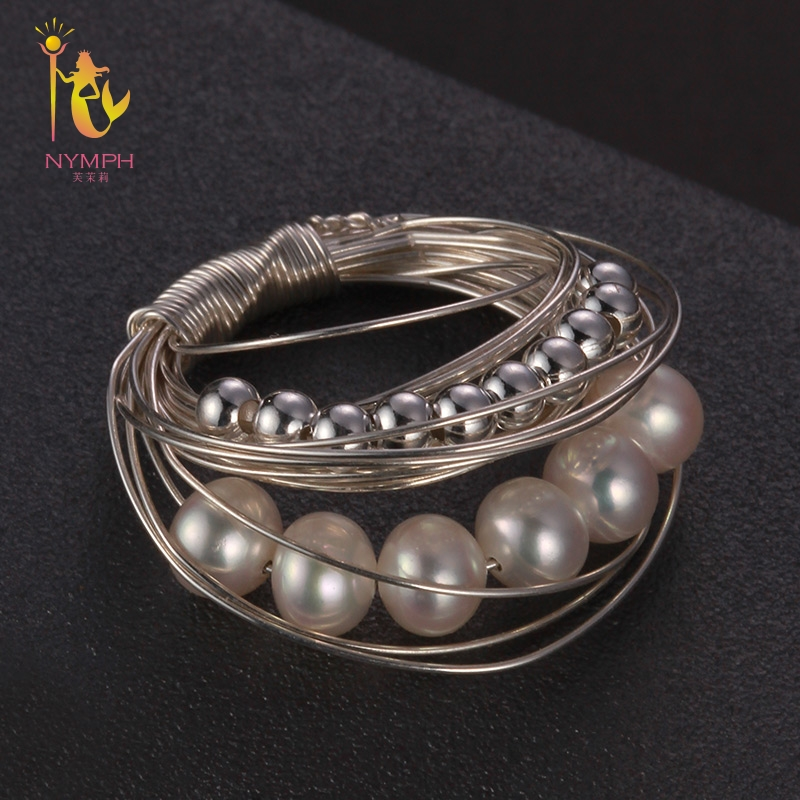 NYMPH Pearl Rings For Women Fine Jewelry Near Round Natural Pearl Wedding Bands Birthday Gift J325 on near la rings