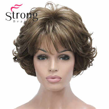 StrongBeauty Short Wig Soft Tousled Curls Brown Highlights Full Synthetic Wigs COLOUR CHOICES - DISCOUNT ITEM  14 OFF Hair Extensions & Wigs