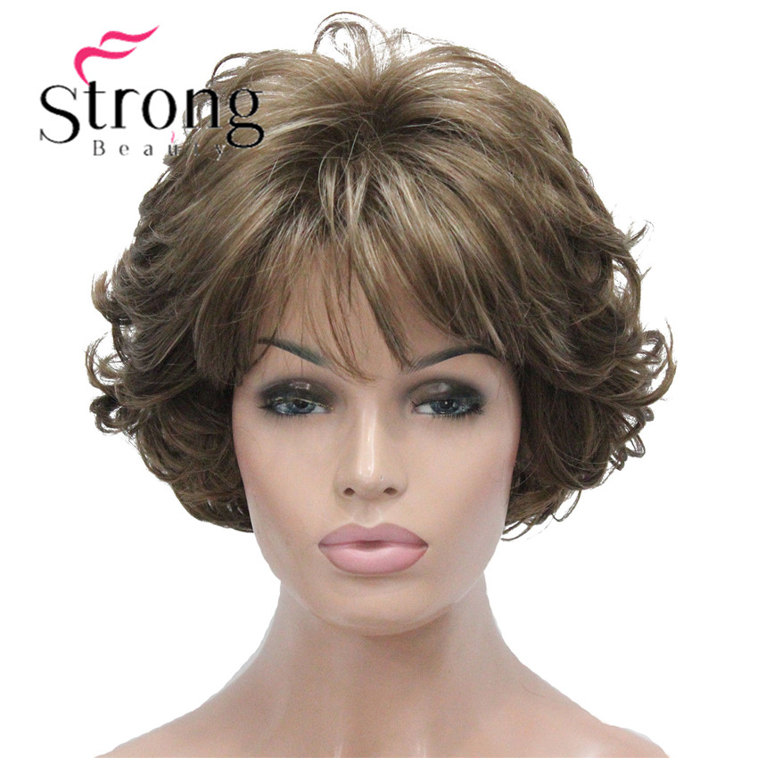 StrongBeauty Short Wig Soft Tousled Curls Brown Highlights Full Synthetic Wigs COLOUR CHOICES