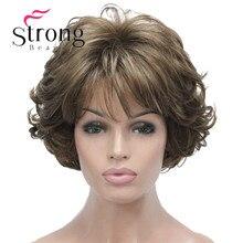 Strongbeauty peruca curta macio tousled cachos marrom destaques completa perucas sintéticas escolhas de cor