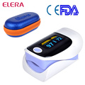 ELERA Alarm SET OLED Display Digital Finger Pulse Oximeter Blood Oxygen Saturation Fingertip Oximetro Pink 5 Color  +Case
