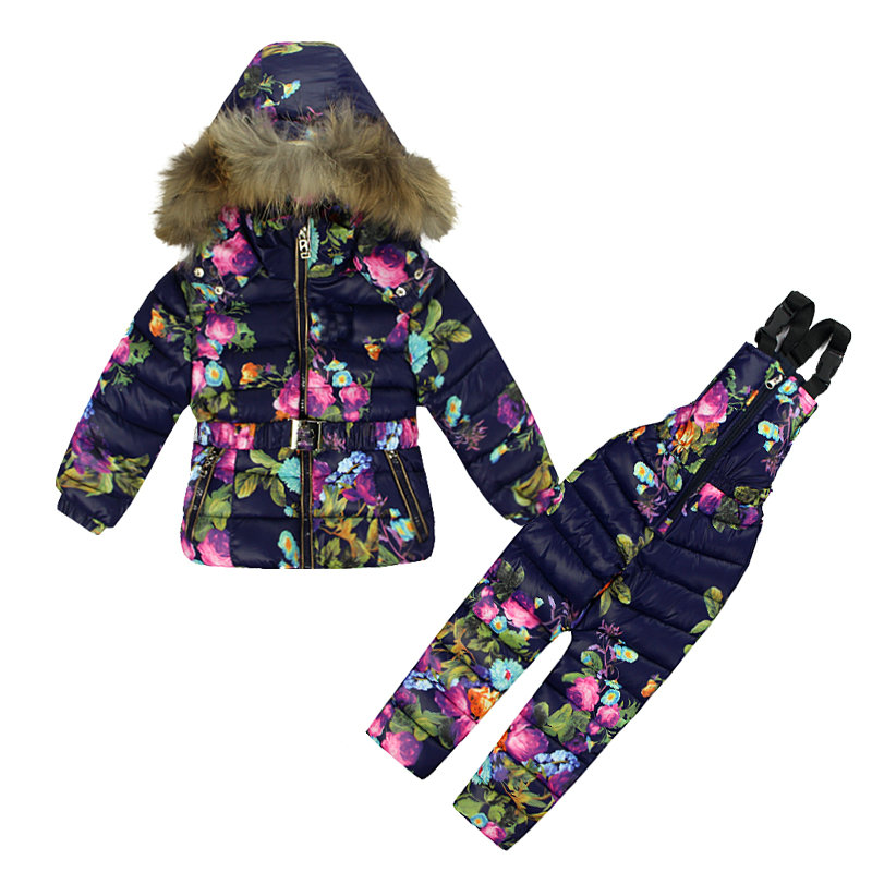 Ensemble de vêtements d'hiver pour filles fleurs vers le bas manteau + salopette costumes chaud coupe-vent Snowsuit enfant en bas âge combinaison de Ski Sintepon T02