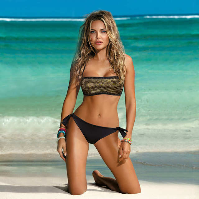 Maillot de bain Bikini ensemble pour femmes maillot de bain paillettes Sexy épaule unique Bikini ouverture plage de sable soleil