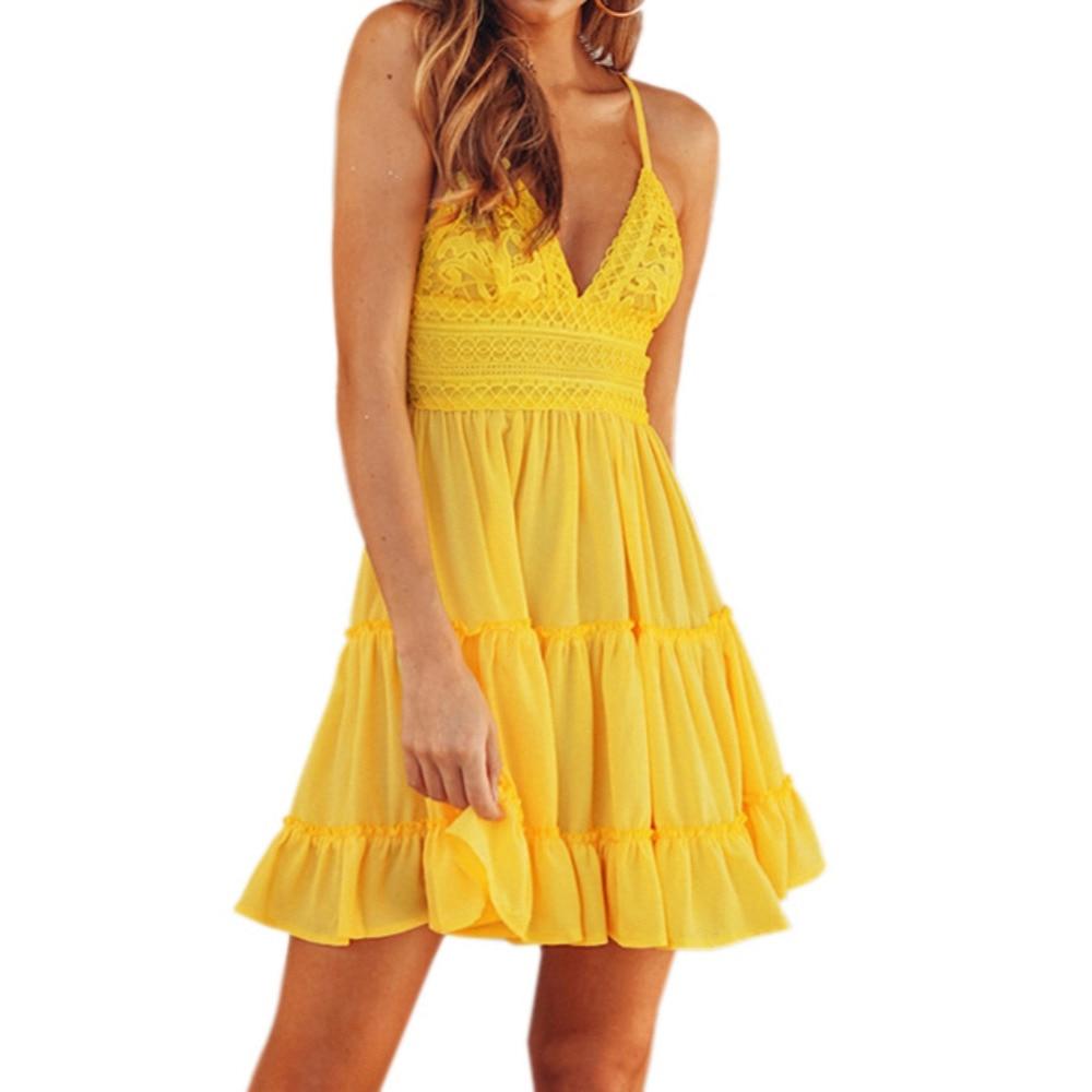 Girls Summer Spaghetti Strap Backless Dress Sexy Lace -4356