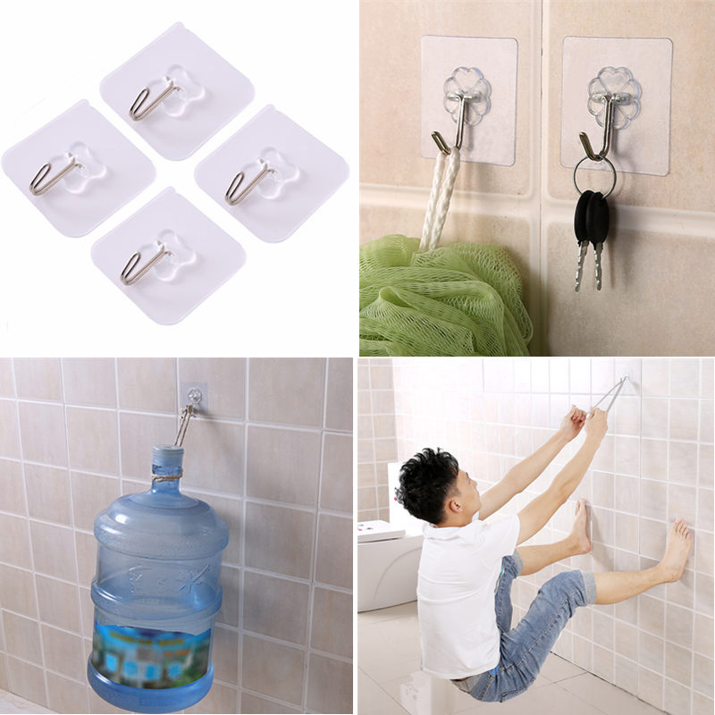 6pcs Super Strong Wall Hooks Transparent Suction Cup Sucker Hanger For Home Kitchen Bathroom Key Holder Wall Hook